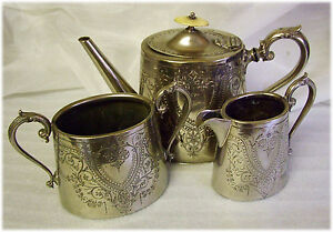 Victorian EPBM Silver Plated Well Worn 3 Piece TEA SET Teapot Sugar Milk
