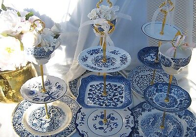 WEDDING Cake Stand, BLUE WILLOW, 3 TIER, Tiered SERVING TRAY, BLUE WHITE - Tiered Serving Stand