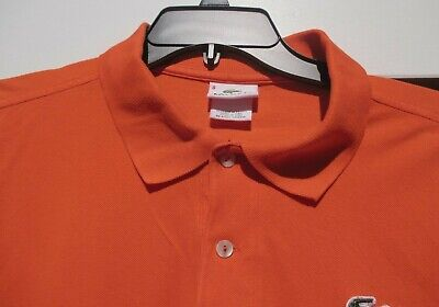 Size 8 (3XL) Authentic Lacoste Men's Orange Cotton Polo Shirt-VGC