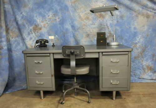 Classic Vintage Industrial Mid Century Tanker Desk