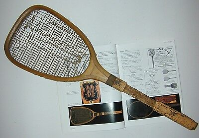 R. Bliss Flat Top Cork Handle Antique Tennis Racquet c1885 - was Jeanne Cherry's