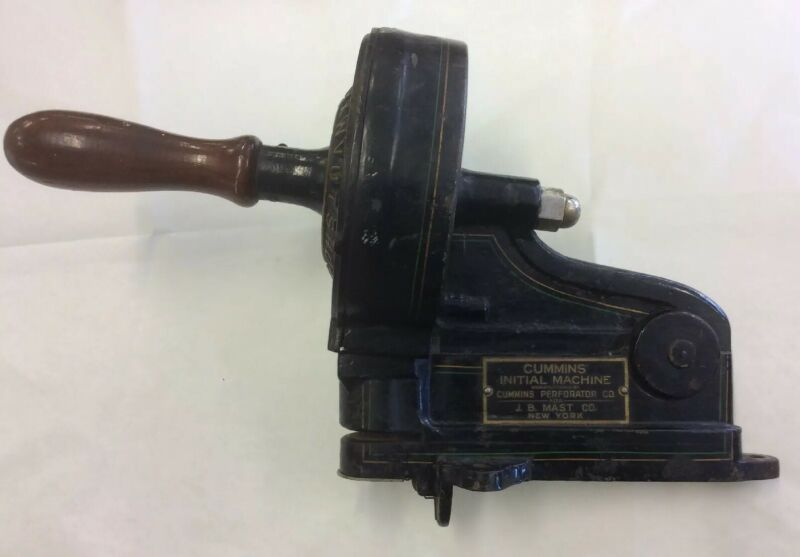 Antique Cummins Initial Perforator Machine (J.B. Mast Co.)