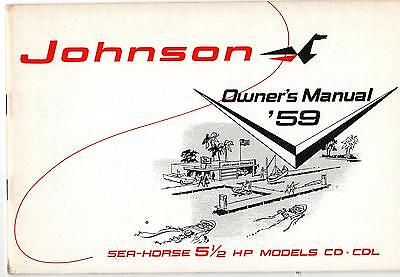 Vintage 1959 Johnson Sea-horse 5 1/2 Hp Outboard Owners Manual Cd & Cdl Nice