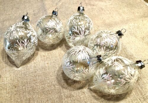 6 Lot vintage hand blown glass Christmas Tree ornaments clear w white snowflakes