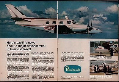 1968 BEECHCRAFT Duke 2-page Aircraft AD Vintage Plane Aviation