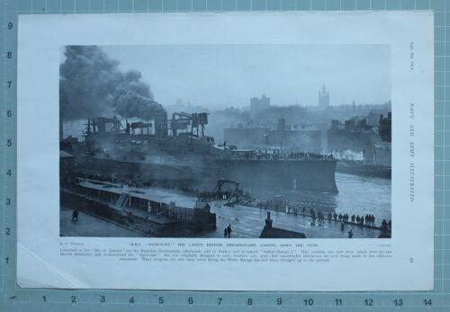 1914 WW1 PRINT HMS AGINCOURT BRITISH DREADNOUGHT PASSING DOWN THE TYNE