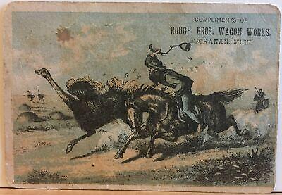 Rough Bros Wagon Works Buchanan MI Advertising Trade Card Farm & Spring Wagons