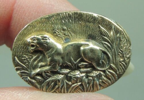OVAL BRASS PICTURE BUTTON  ~ COUGAR  METAL