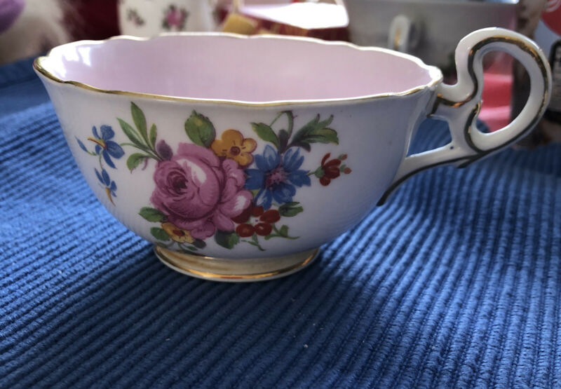 A. B. J. Grafton China Made England Bouquet Pattern Pink Lining China Tea Cup