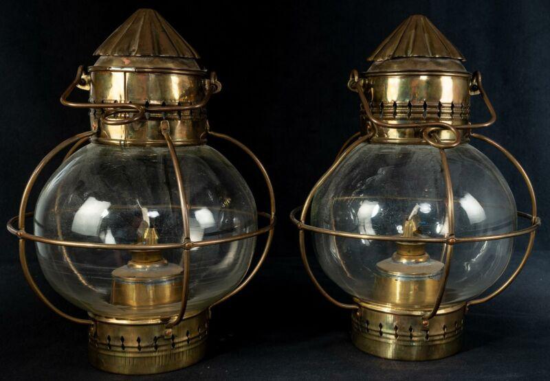 RARE Antique Pair 2 TUNG WOO Brass ONION Lanterns Lamps