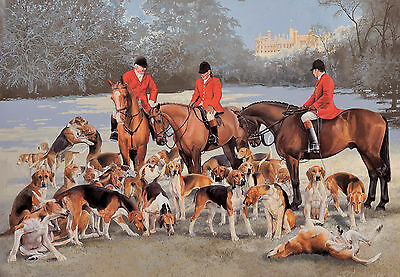 (Horse and Hounds at Belvoir, Christmas cards pack of 10 by J Bell. C482X)