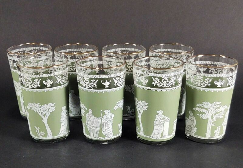 Jeannette Glass Green WEDGEWOOD HELLENIC Grecian 6 oz Juice Glasses Set of 8