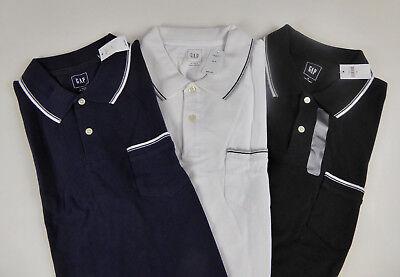 GAP Striped Trim Polo Shirt NWT Chest Pocket 100% Cotton Pique Ribbed Collar