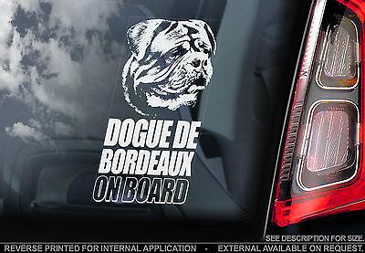 Dogue de Bordeaux - Car Window Sticker - French Mastiff Dog on Board Sign - TYP1