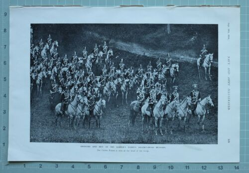 1914 WW1 PRINT OFFICERS & MEN OF KAISERS FAMOUS DEATH HEAD HUSSARS CROWN PRINCE