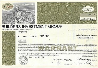 Builders Investment Group      1975 Shares Of Beneficial Interest Certificate