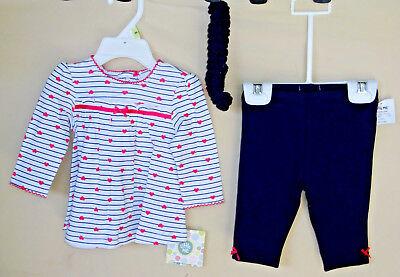 LITTLE ME 100% Cotton Navy Stripe HEART Print Tunic Set w/Legging & Headband NWT