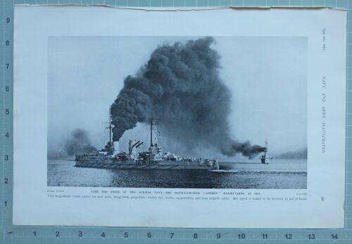 1914 WW1 PRINT BATTLE CRUISER GOEBEN GERMAN NAVY MANOEUVRING AT SEA
