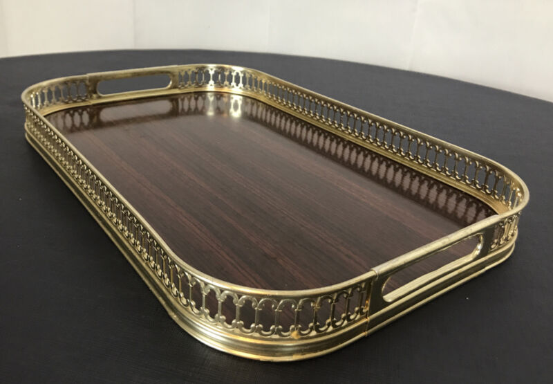 Vintage Serving Tray Bar Vanity Faux Wood Mahogany Woodgrain Metal Handles MCM