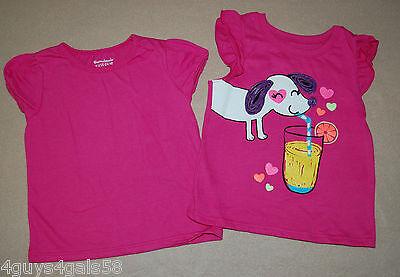Toddler Girls Summer Shirts TWO LOT 24 Mo PINK Dog LEMONADE Sparkles - Sparkling Pink Lemonade