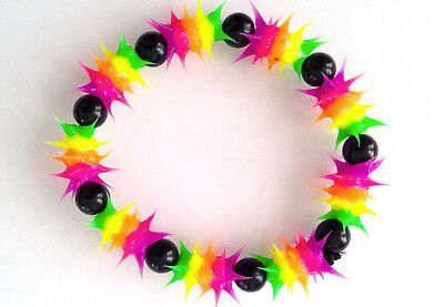 UV GLOW  Silicone Bracelet surfer rave dance hippie Rainbow purple  UV GLO 003 - Glo Bracelets