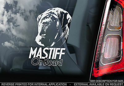 Mastiff - Car Window Sticker - English Dog on Board Sign Art Gift - TYP3