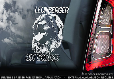 Leonberger - Car Window Sticker - Dog on Board Sign Art Gift - TYP1