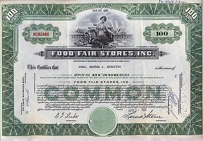 Food Fair Stores Stock Certificate Grocery Green Pennsylvania
