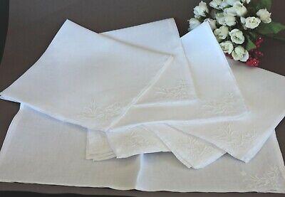 Holiday Napkins Vintage French set of 4 large white napkins hand stitched GS monogram cotton damask