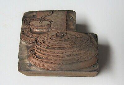 Vintage Copper Wood Printing Letterpress Printers Block - Pancakes Coffee