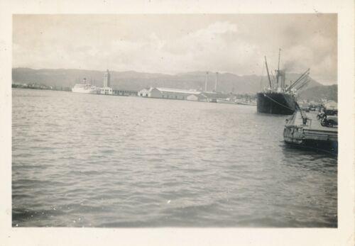 1940s Honolulu Harbor, Aloha Tower ships, docks Hawaii Photo