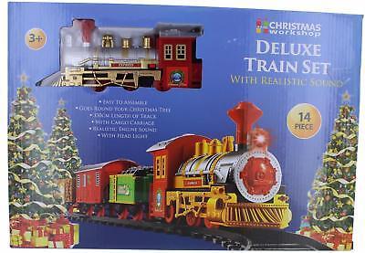 Deluxe Christmas 14 Pcs Train Set Realistic Sounds & Light 330cm Track Xmas Tree