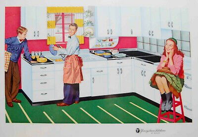 VINTAGE 1957 YOUNGSTOWN KITCHEN MULLINS PROMOTIONAL PLACEMAT LITHO REMIE HAMON 2