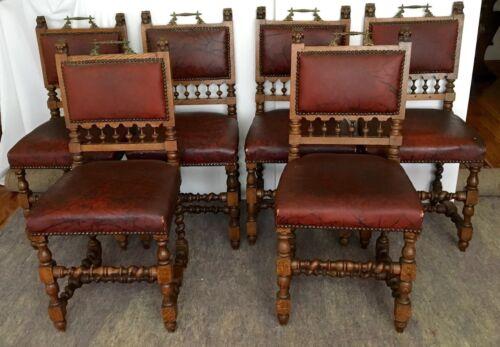 6 ANTIQUE Victorian Oak Lion Heads Chairs w/Brass Handles