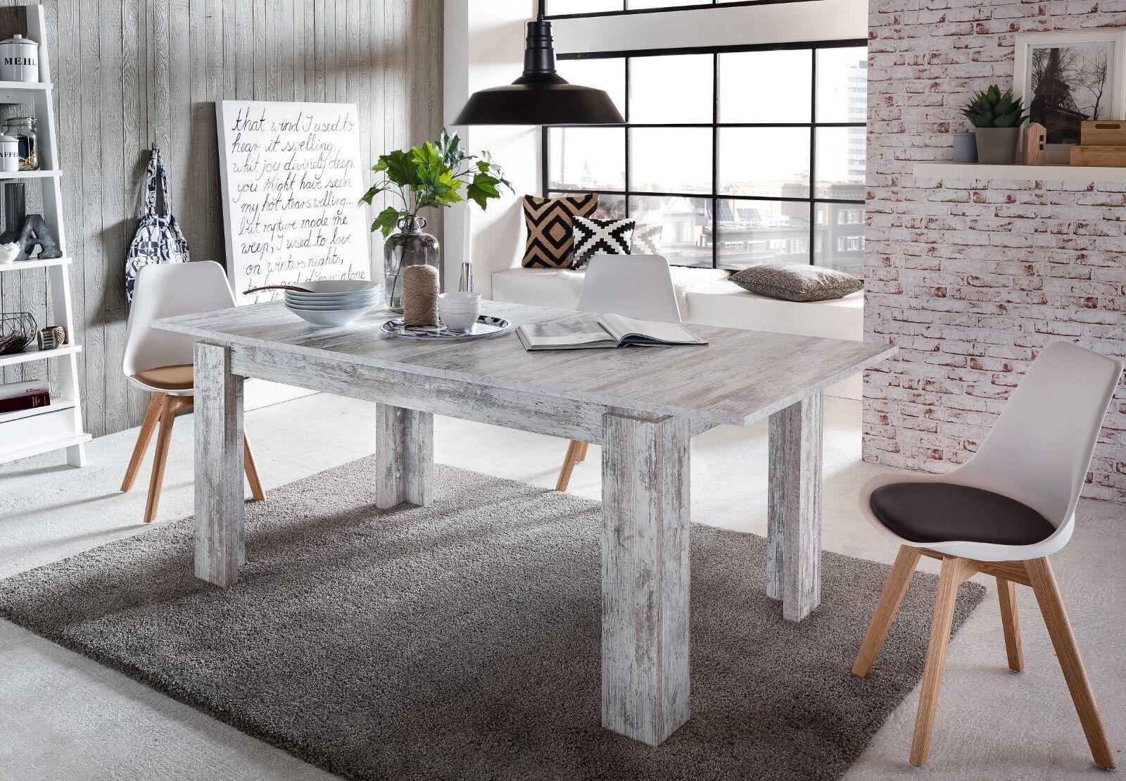 Esstisch Esszimmer Tisch weiß Pinie Shabby Holztisch ausziehbar 160 200 cm River • EUR 196,99 ...
