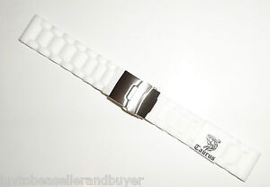 Taurus Soft Silicone Watch Band Strap Deployment Buckle Blk/Wht 20mm 22mm 24mm