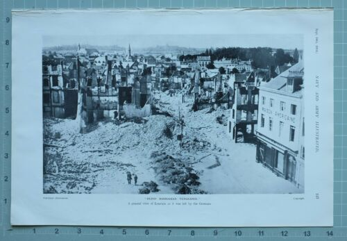 1914 WW1 PRINT GENERAL VIEW OF LOUVAIN LEFT AFTER GERMAN ATTACK