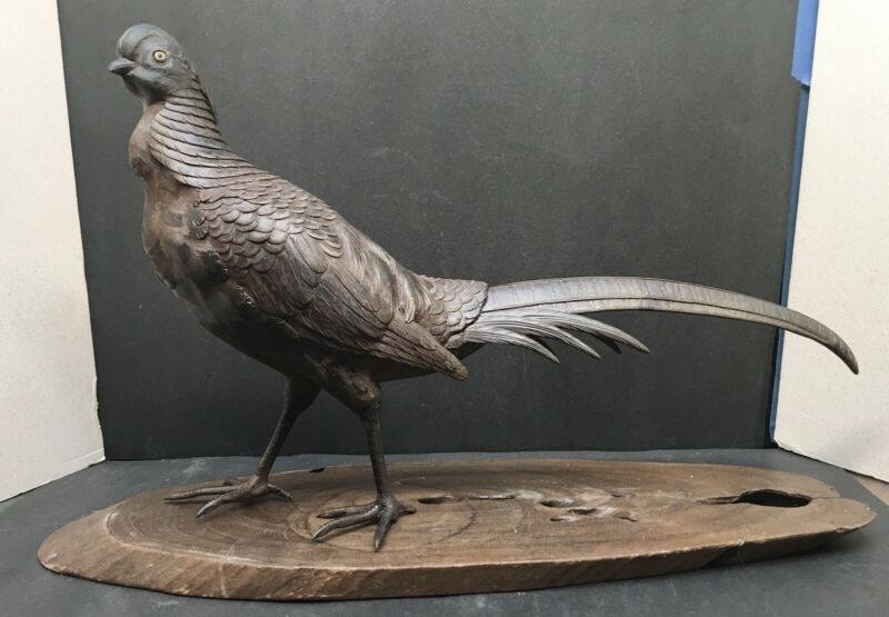 Large Japanese Meiji Bronze Okimono - Pheasant W/Gold & Shakudo Eyes  , Signed