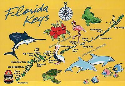 Marathon Florida Keys - Florida Keys State Map, FL, Key Largo, Key West, Marathon, Fish - 5 x 7 Postcard