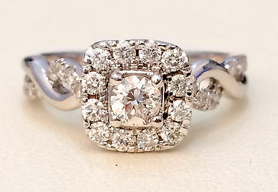 14k White Gold Halo Vintage Style Infinity Bypass Shank Engagement Ring