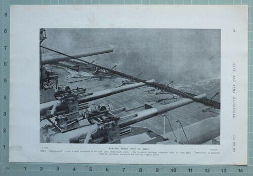 1914 WW1 PRINT HMS DREADNOUGHT BROADSIDE DISCHARGE GUNS SECONDARY ARMAMENT