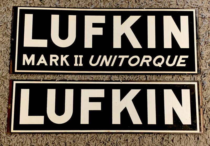 2 VINTAGE 1960s LUFKIN & LUFKIN MARK II UNITORQUE PORCELAIN SIGN OIL WELL