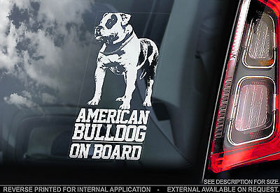 American Bulldog - Car Window Sticker - Dog on Board Bullie Bully Sign - TYP1