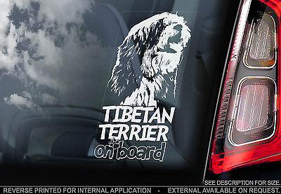Tibetan Terrier - Car Window Sticker - Dog on Board Sign Art Gift - Tsang Apso