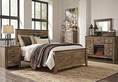 WOODLAND 5 pieces Modern Rustic Brown Bedroom Set NEW Furniture - King Panel Bed