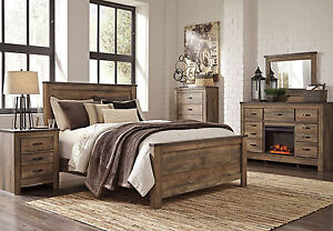 Woodland 5 Pieces Modern Rustic Brown Bedroom Set New Furniture King Panel Bed