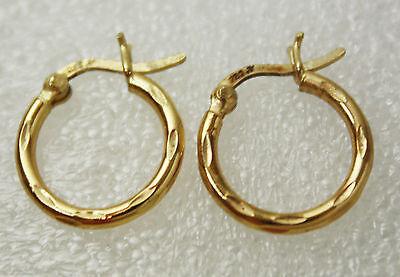 Vintage Sterling Silver 925 Vermeil Hoop Earrings Pierced