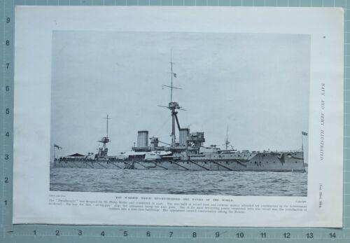 1914 WW1 PRINT WARSHIP DREADNOUGHT SIR PHILIP WATTS FIRST-CLASS BATTLESHIP