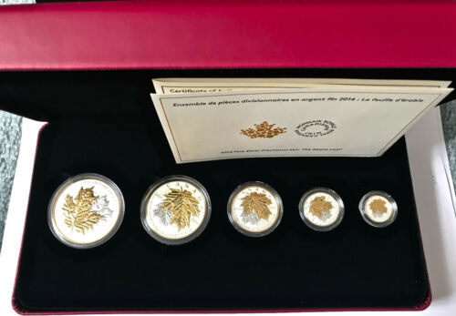 2014 CANADA 5 Coins Silver Fractional Maple Leaf Set
