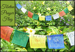 STRING-OF-10-TIBETAN-BUDDHIST-PRAYER-FLAGS-Buddha-1-5-Metres-Long-Prosperity